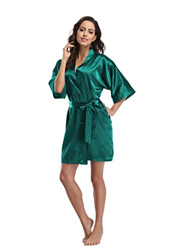 Luvrobes Women's Satin Kimono Robe, Solid Color, Short (Teal, XXL)