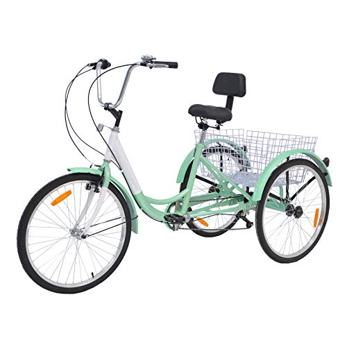 H&ZT Adult Tricycle Trike 3 Wheeled Cruiser Bike with Large Basket and Maintenance Tools, 24 Inch Wheel Size Bike Trike, Men's Women's Cruiser Bike (Cyan, 7 Speed)
