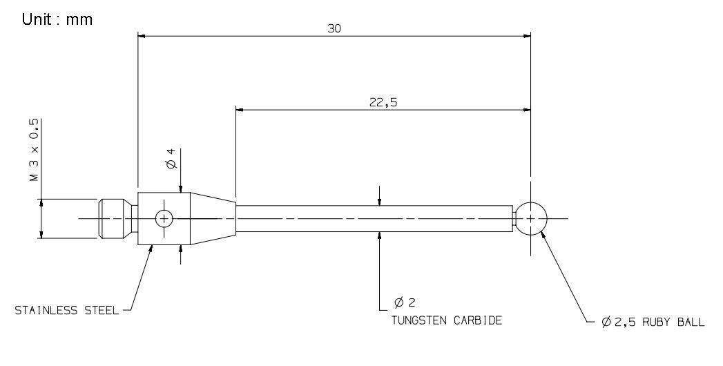 CMM Touch Probe M3 Thread Probe Stylus 2.5mm Ruby Tips 30mm Long A-5003-0055