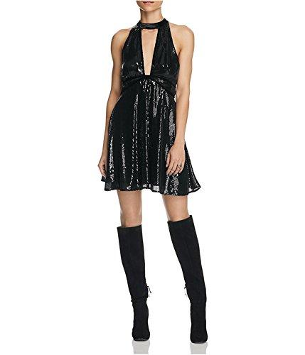 Free People Womens Sequined Velvet Trim Party Dress Black 6