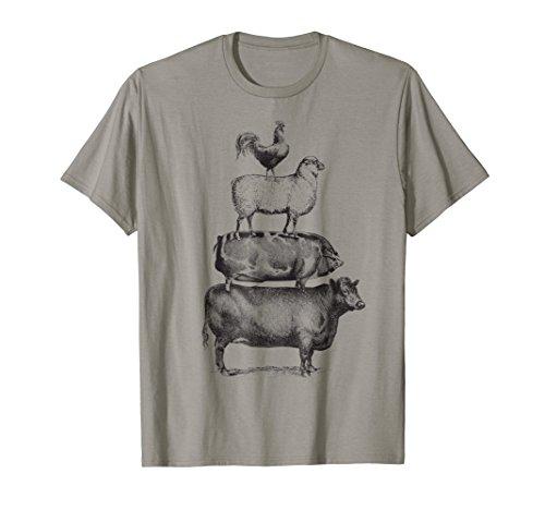 - Farm Animals Pyramid Farmer T-Shirt Country Girl Gift Tee