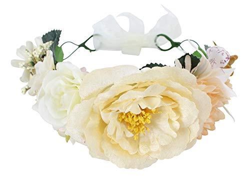 Felizhouse Flower Crown Headband for Women Girls Bridal Wedding Floral Headpiece