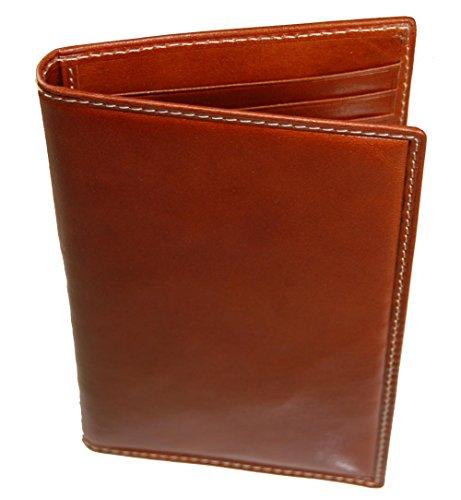- Castello Fine Italian RFID Leather Slim Bi-Fold Long Cardholder Wallet (cognac)