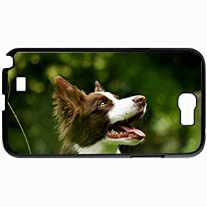 Personalized Protective Hardshell Back Hardcover For Samsung Note 2, Dog Summer Background Design In Black Case Color