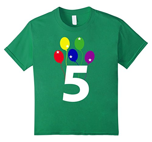 Kids Happy Birthday Balloons T-shirt (Gift for 5 year old) 12 Kelly Green