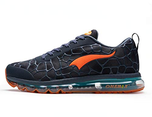 ONEMIX Men's Lightweight Air Cushion Sport Running Shoes Athletic Tennis Walking Sneakers Lake Blue Orange Size 11