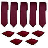Mens Necktie Pocket Square 10 Pcs Set Solid Color Tie and Handkerchief for Wedding (Burgundy)