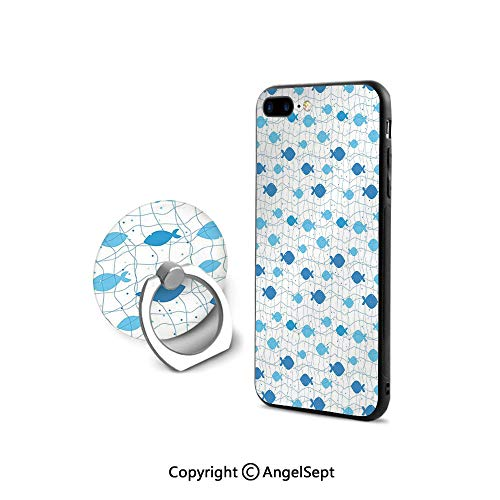 iPhone 8 Case/iPhone 7 Case with Ring Holder Kickstand,Fish Net with Polka Dots Abstract Animal Silhouettes Nature Inspired Image,Shock-Absorption Bumper,Blue Pale Blue White