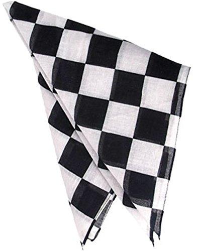 Black and White Checkered Racing Bandana -