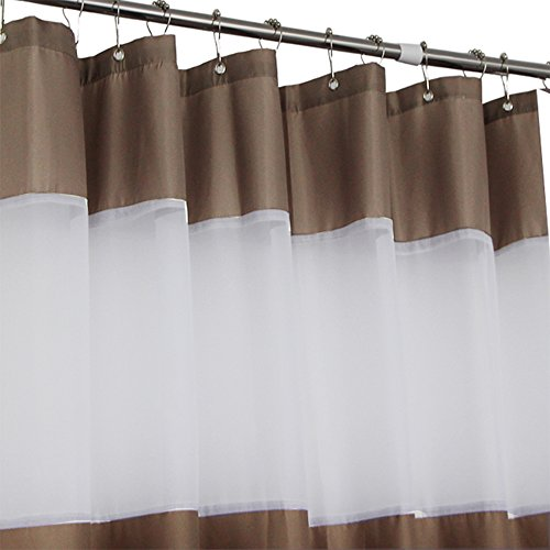 (Eforcurtain Home Decor Solid Brown Microfiber Shower Curtains White Organza Striped for Adults, Stall Extra Long Bath Curtain Water Resistant 54 by 78)