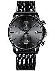 Orologi da uomo moda sport al quarzo analogico nero maglia acciaio inossidabile impermeabile cronografo orologio da polso automatico data