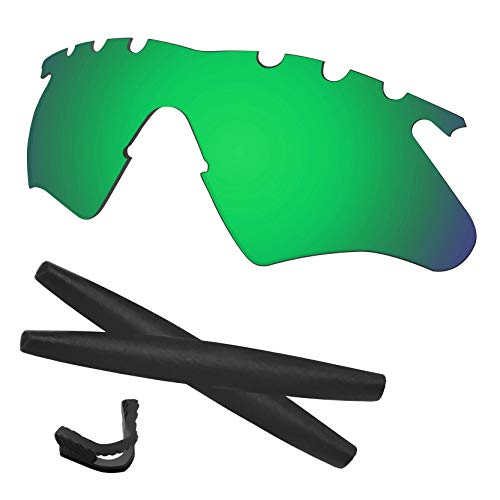 Predrox Green Mirror M Frame Heater Vented Lenses & Rubber Kits Replacement for Oakley Polarized