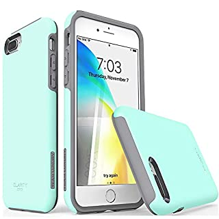 "TEAM LUXURY iPhone 7 Plus case/iPhone 8 Plus case, [Clarity Series] Updated [G-III] Ultra Defender TPU + PC Shock Absorbent Protective Case - for Apple iPhone 7 Plus & 8 Plus 5.5"" (Soft Mint/Gray)"