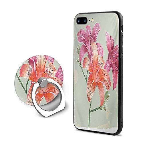 (Vintage Floral iPhone 7 Plus/iPhone 8 Plus Cases,Lily Flowers on Grunge Backdrop Gardening Plants Growth Botany Pale Green Salmon Pink,Mobile Phone Shell Ring Bracket)