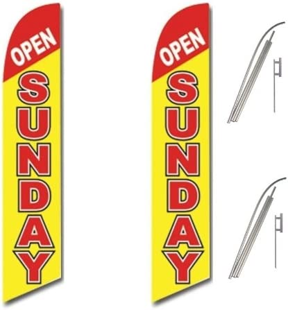 Two Full Sleeve Swooper Flags w// Poles /& Spikes OPEN SUNDAY Red Yellow White