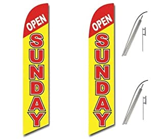 Two Full Sleeve Swooper Flags w/ Poles & Spikes OPEN SUNDAY Red Yellow White