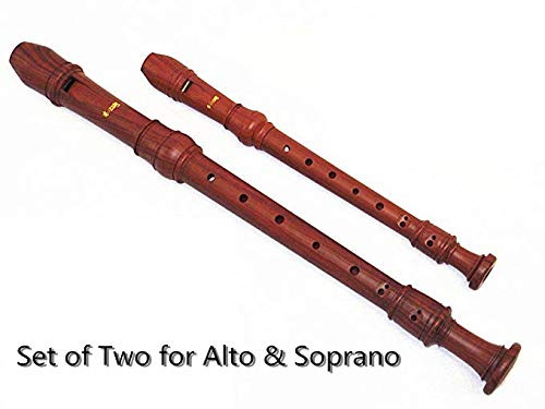 Set of 2 /Woodnote Wood Grain Alto & Soprano Recorders-Baroque Fingering - ABS Resin Plastic by Woodnote
