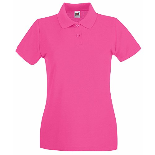 Fruit of the Loom Lady Fit Premium Colours Short Sleeve Cotton Polo Shirt Fuchsia