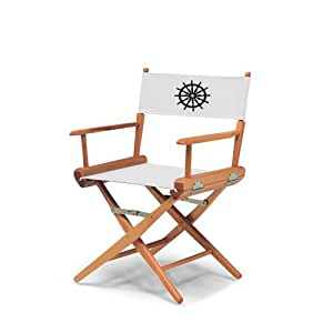 Telescope Casual World Famous Dining Height Director Chair, Varnish Finish with Marine White and Black Motif Cover