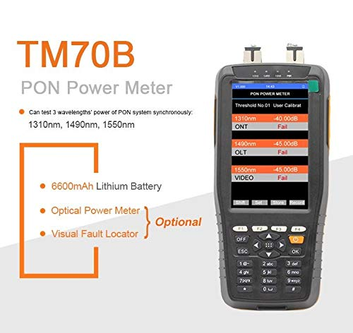 FTTX Optical Fiber PON Network Cable Test Tool with 10km 650nm VFL and 850~1625nm for EPON GPON PON Optical Power Meter Handheld PON Power Meter