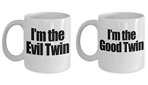 - Good Twin Evil Twin Mug Set - Funny Siblings Day Sister Brother Gift - 11oz and BIG 15oz Ceramic Cup for Coffee Tea Drinks - 11 oz