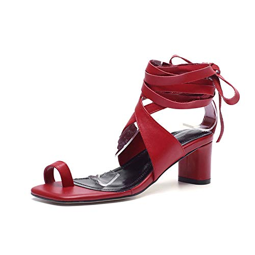 Bandage Sandals for Girls Women Shoes Lace On The High Heel Summer Shoes,Red,7