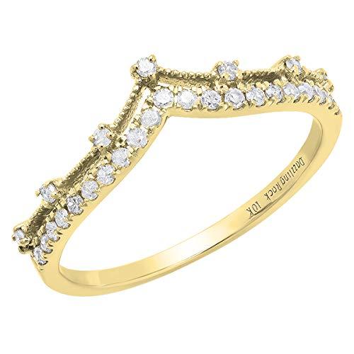 Dazzlingrock Collection 0.25 Carat (ctw) 18K Round Diamond Ladies Chevron Wedding Band 1/4 CT, Yellow Gold, Size 7