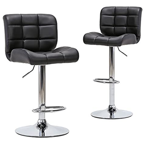 Chiming Chrome Round Base Swivel Bar Stools Black PU Leather Adjustable Chair, Set of 2 - Chair Chrome Base