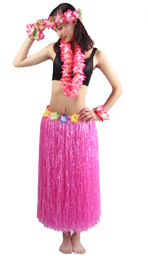 Fighting to Achieve 5pcs/ Set Women's Hawaiian Luau 80cm Pink Grass Hula Skirt