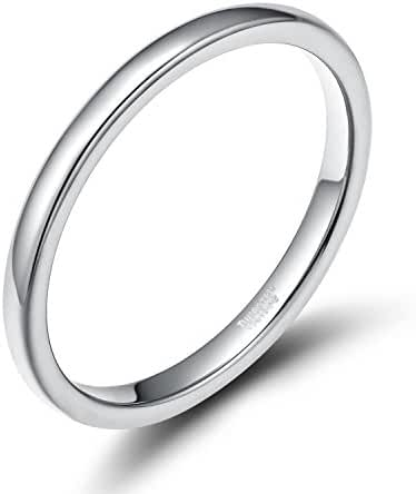 Greenpod Women Tungsten Carbide Rings Silver Classy Domed Style Comfort Fit 2MM