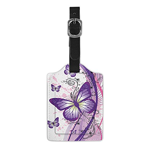 FINCIBO Leather Large Luggage Bag Tag with Privacy Label Flap for Travel Suitcase Baggage Luggage, 2 Tone Purple Butterfly