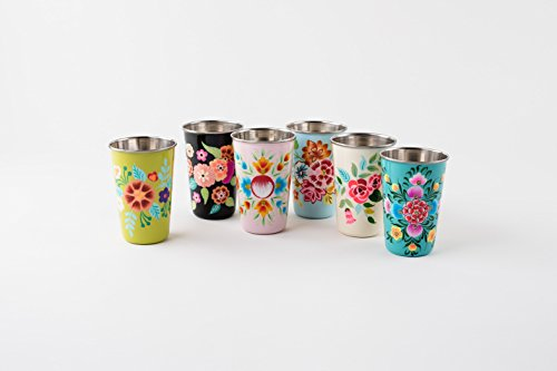 Floral Stainless Cups Set of 6 Hand Painted Enamel Finish New Home Decor