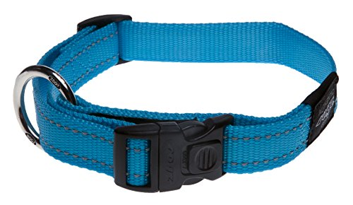 Reflective Dog Collar for Extra Large Dogs, Adjustable from 17-27 inches, Turquoise