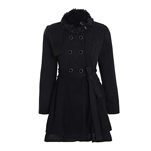 Women's Faux Fur Thick Parka Wool Trench Coat Jacket AmyDong Lapel Long Outwear Double-Breasted Overcoat(Black,L)