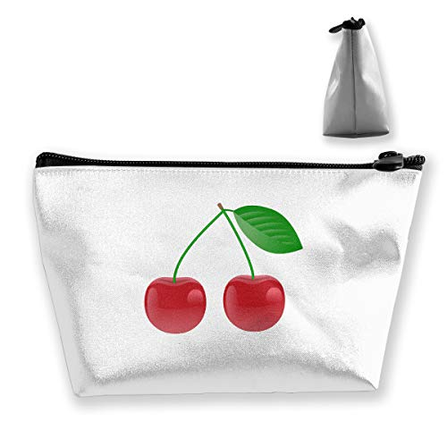 Trapezoidal Cosmetic Bags Makeup Toiletry Pouch Cherry Travel Storage Bag Phone Purse