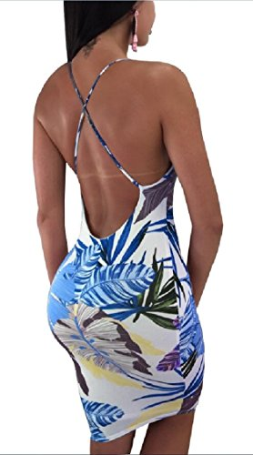 Jaycargogo Sexy Backless Summer Slim Blue Women's Cross Midi Criss Bandage Dress r1ZRqtrx