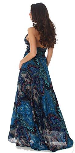Voyelles E Abito Con Turchese Motivo Decorative Lungo Paillette Elegante Donna Da Ogr0gaBW