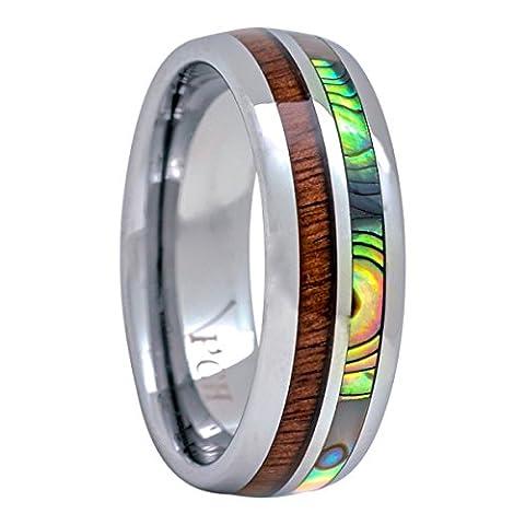Tungsten Hawaiian Koa Wood and Abalone Inlay Wedding Ring Dome Size 6 to 15 (6) (Abalone Inlay Band Ring)