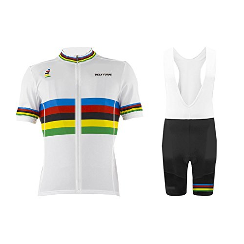 Uglyfrog 2017 Mens Short Sleeve Cycling Jersey+Short Bib Sets With Gel Pad Outdoor Sports Summer Style Bike (Voler Shorts)