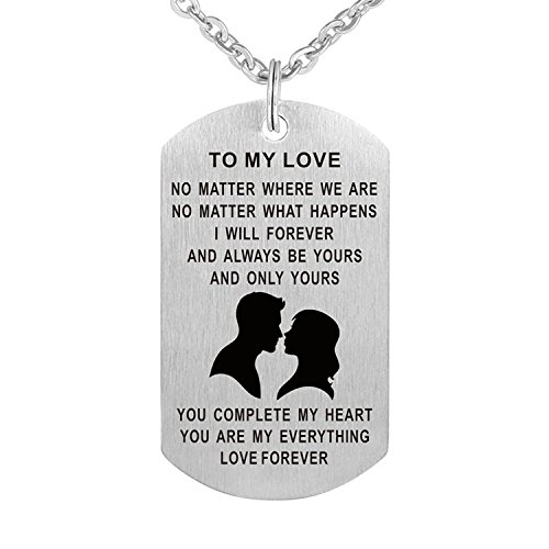 Valentine's Day Dog Tag Pendant Necklace Gift for Boyfriend Girlfriend Husband Wife Valentine Lover Gift Military Jewelery
