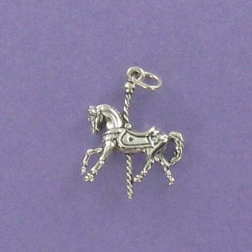 (Carousel Merry-Go-Round Horse Charm Sterling Silver DIY Jewelry Making Supply for Charm Pendant Bracelet by Charm Crazy)