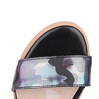 LvYuan Mujer-Tacón Robusto-Confort Innovador-Sandalias-Boda Oficina y Trabajo Fiesta y Noche Vestido Informal-Materiales Personalizados Semicuero Black