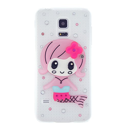 CaseBee® 3D Series - Cute 3D Mermaid w/ Mirror Samsung Galaxy S5 Mini SM-G800 Case - Handmade Bling Bling Rhinestones - Perfect Gift (Package includes Extra Crystals & Screen Protector) (Pink)