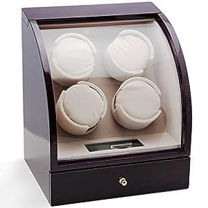 CHIYODA Watch Winder for 4 Watches + 3 Storage, Qiuet Mabuchi Motors, LCD Display & Control Screen (Brown01)