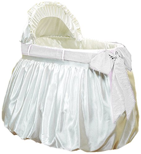 Baby Doll Bedding  Shantung Bubble and Crushed Belt Bassinet Set, Ecru