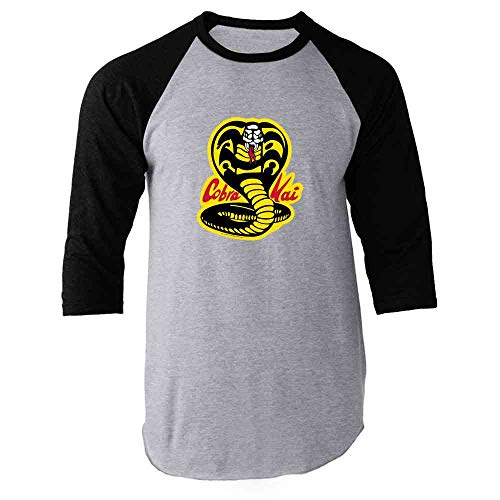 Cobra Kai Karate Kid Dojo Retro Martial Arts Black L Raglan Baseball Tee Shirt