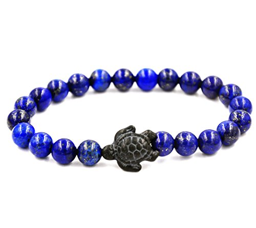 Minestone Turtle Energy Bracelet Tiger-Eye Bracelet with Turtle in Black Turquoise Turtle Bracelet-Healling Bracelet (White Turquoise) (Blue Lapis)