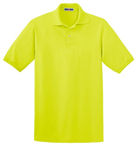 Jerzees Men's 2 Button Knit Collar Polo Shirt, Safety Green, XXXX-Large