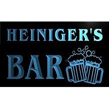 w060460-b HEINIGER Name Home Bar Pub Beer Mugs Cheers Neon Light Sign