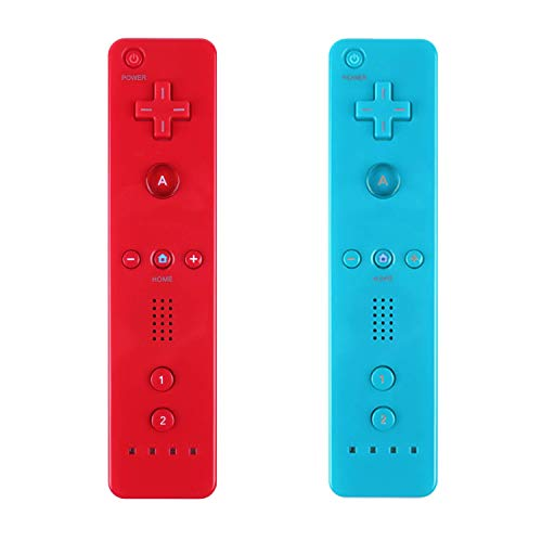 Yosikr 2 Packs Remote Wireless Controller Compatible for Nintendo wii/wii u Console - with Silicone Case and Wrist Strap (Red and - Remote Wii Wireless Nintendo
